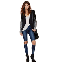 Nice Spring Nice Casacos Feminino Silver And Black Sequined Sleeves Gradient Mosaic Women Blazers And Jackets JT97