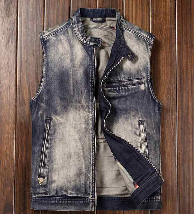 196f69349 Motorcycle Club Vest Men's Denim Biker Vest Stand Collar Vintage ...