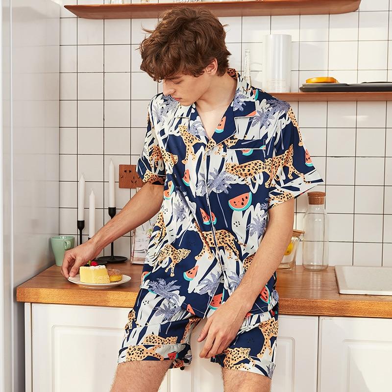 Silky Home Wear Sleep Top Pants Set Mens Summer Robe Bath Gown Casual Male Nightgown Sleepwear Sleepshirts Pijama Mujer L-XXL
