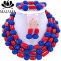 2017 Trendy african jewelry set blue Plastic and red Coral nigerian wedding african beads jewelry set Free shipping  G-194