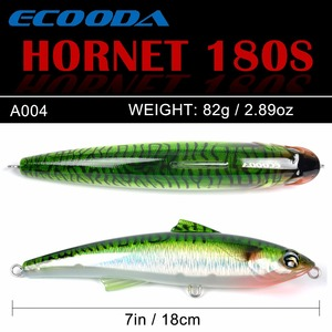 Image 4 - Ecooda Hornet 180mm 82g Fishing Popper Saltwater lure Topwater Trolling big Pencil Lure Hard bait Floating For Kingfish/Tuna