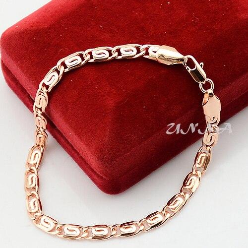 45mm Mens Womens Rose Gold Filled Chain Link Snail Bracelet Bangles