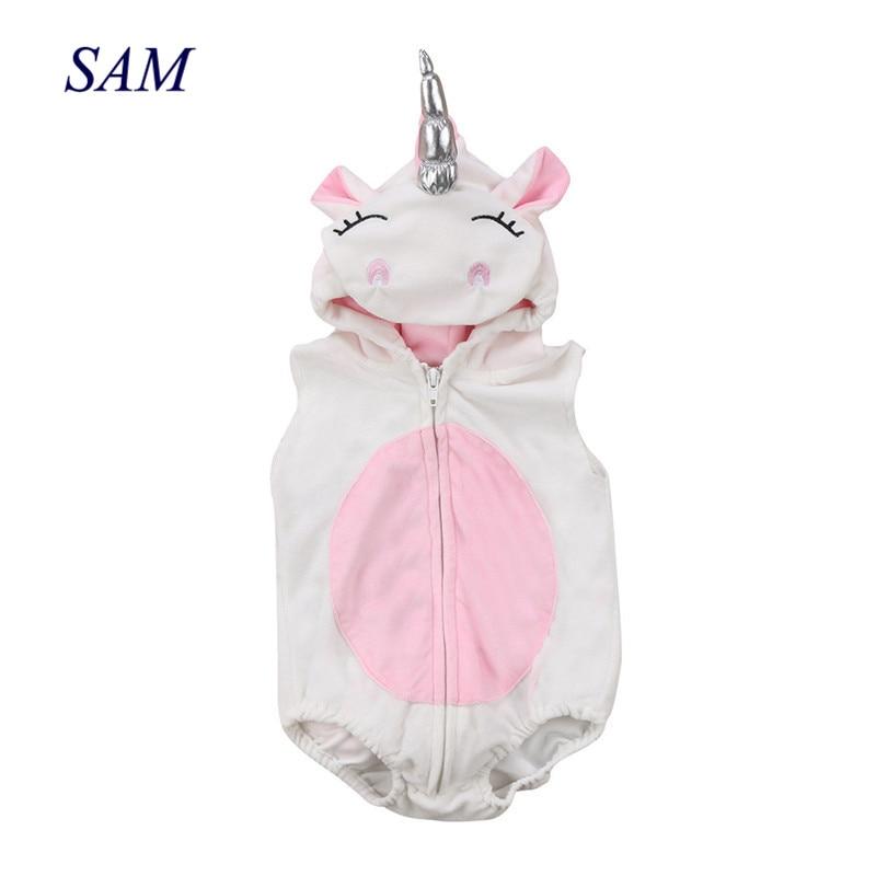 Toddler Newborn Unicorn Baby Girls Fleece Romper Jumpsuit Jumper Outfits Costume