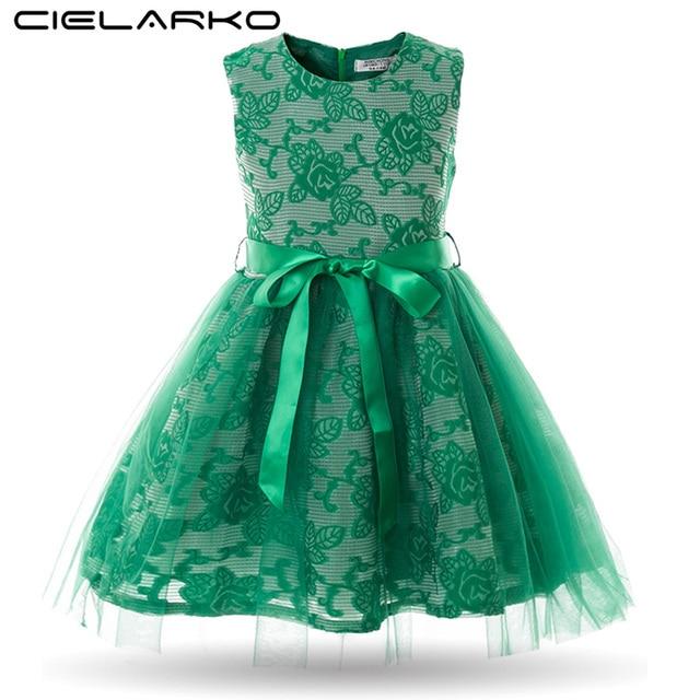 Cielarko Girl Dress Princess Mesh Kids Wedding Party Dresses Flower ...