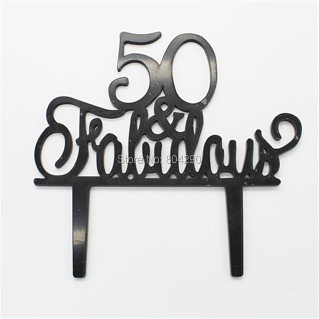 Free Shipping Birthday Party Cake Decoration Black 50 Fabulous