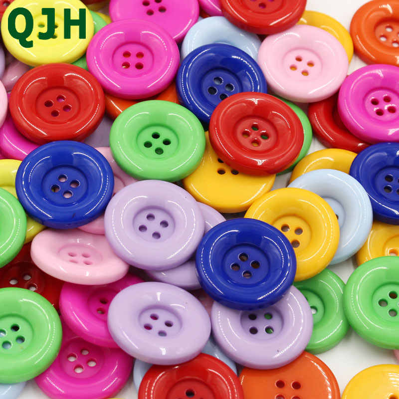 QJH 18-30mm 4holes Plastic Resin Buttons Coat Clothes Button Handmade DIY Home decoration craft Sewing Accessorie Scrapbooking