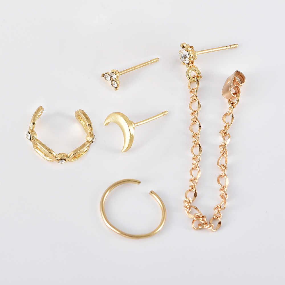 Nouvelles boucles d'oreilles bijoux de mode boucles d'oreilles poreuses populaires pour les femmes combinaison lune cristal ensemble personnalité sauvage en gros