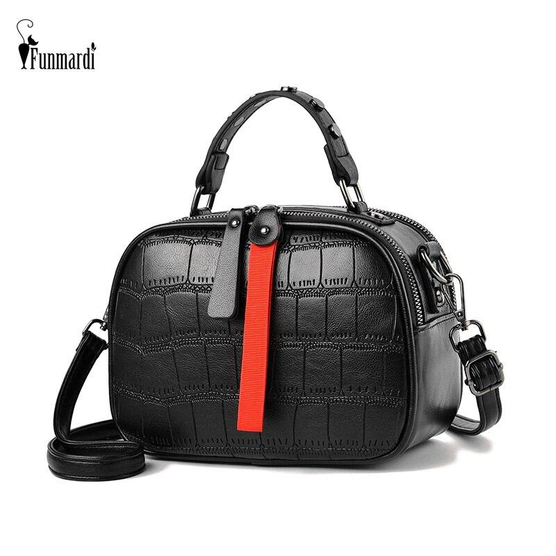 FUNMARDI Rivet Women Handbags Crocodile Designer Shoulder Bags Crossbody Classic Quilted Bag Hit Color Zipper Brand Bag WLHB1970