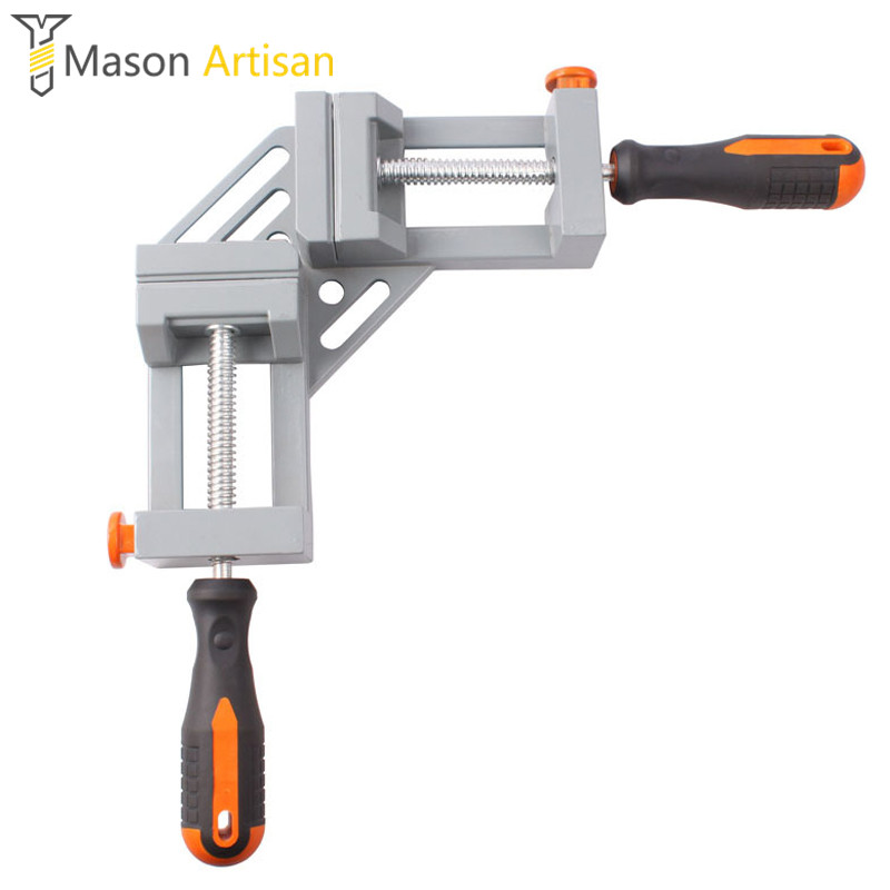 Double Handle Aluminum 90-degree Right-angle Clamp Woodworking Clip Fish Tank Photo Frames Spell Angle Folder Tool
