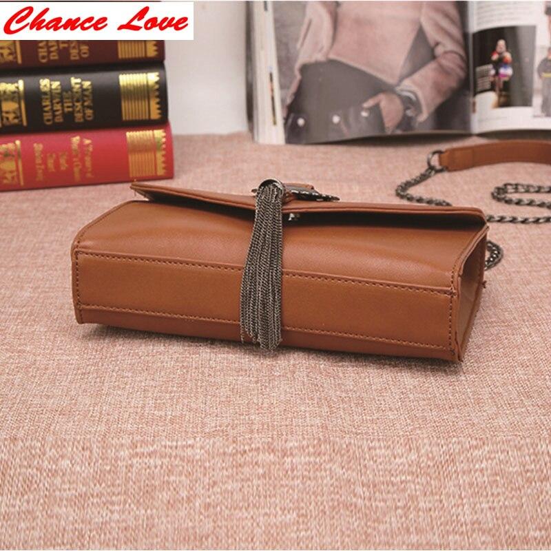 ФОТО Chance Love Women Shoulder BagsC*C Channel Fashion Soft PU Tassel Flap Lady Solid Hasp Bags Tassel High Quality Luxurious