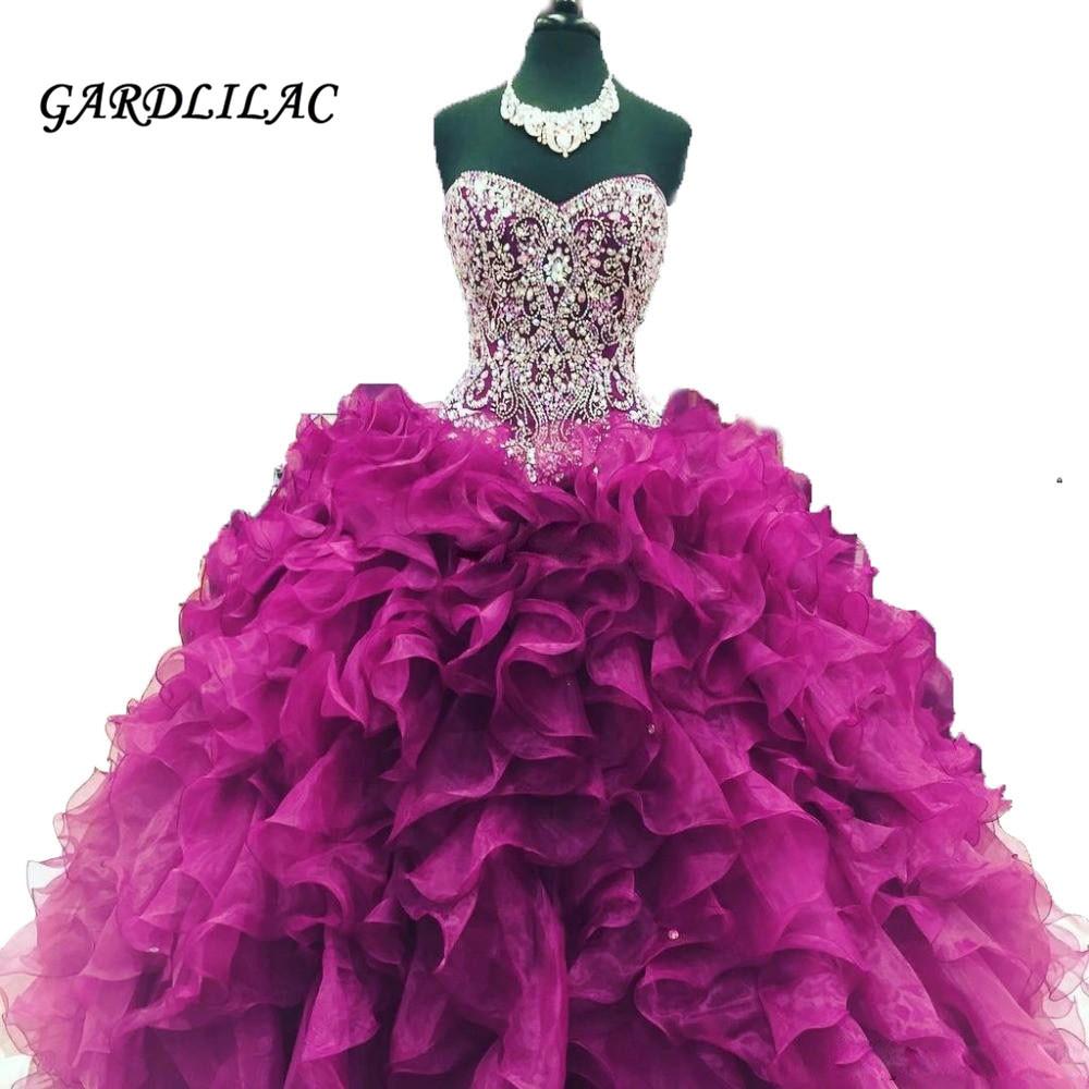 Nya Billiga Crystal Pärlor Burgundy Quinceanera Klänningar 2019 - Särskilda tillfällen klänningar - Foto 2