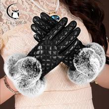 Nowa w kratę rękawiczki zimowe ciepłe prawdziwe futro królika Rex długie skórzane rękawiczki dla kobiet luksusowe rękawiczki rękawiczki pryzmat siatki zimowe rękawiczki tanie tanio newowlbie Dla dorosłych WOMEN Cashmere Genuine Leather Plaid Nadgarstek Moda
