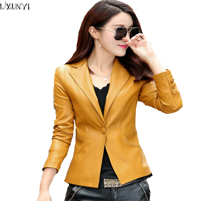 Ladies Women Jacket Polyurethane Leather Coat Spring Autumn Outwear Slim fit