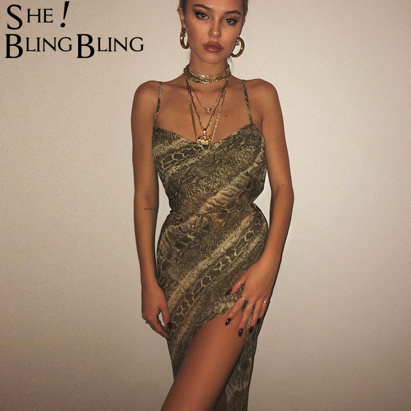 8305626da2f SheBlingBling Mesh Snakeskin Sexy Dresses Spaghetti Straps Split Backless  Elegant Party Sling Hollow Out See-