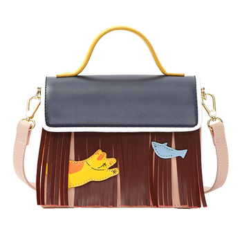 Women Leather Embroidery Handbags Girl Shoulder Bags Messenger Bag Female Tote Braccialini Style Handicraft Cartoon Cat and Fish