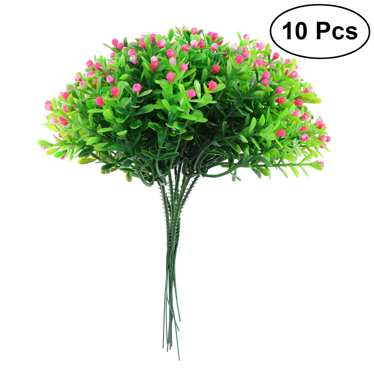 10pcs Artificial Fake Flower Faux Plastic Milan Grass Flowers Simulation Plants Greenery For Indoor Outside Wedding Home(Pink)