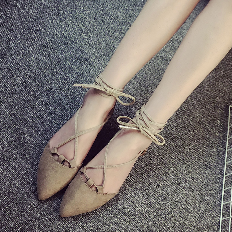 2016 new summer women flat pointed closed toe sandals lace up cross straps hollow out suede casual female designer sandals shoes 2015 winter autumn new lace cross straps