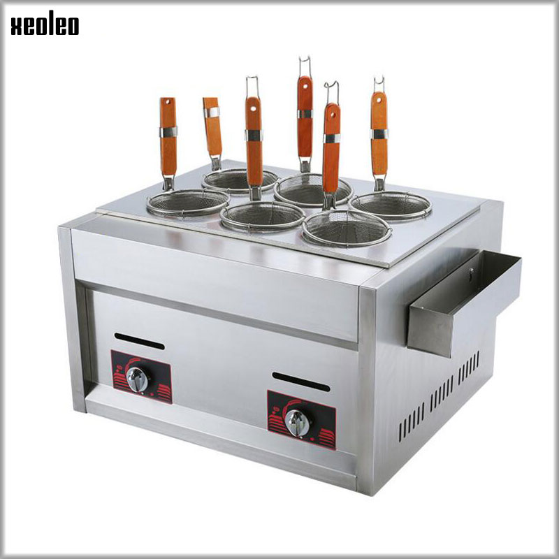 XEOLEO 6 holes pasta cooker Electric Cooking noodle machine LPG gas noodle boiler with Commercial Cabinet of catering equipment free shipping electric table type noodles cooking machine with ce pasta cooker