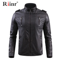 Riinr 4XL Men's PU Jacket Leather Coat Autumn Winter Slim Fit Faux Leather Motorcycle Jackets Male Coats Brand Clothing