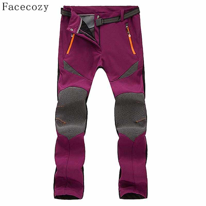 Facecozy 女性の冬の屋外スポーツフリースキャンプソフトシェルパンツパッチワーク防風マルチカラーハイキングクライミングスキーズボン