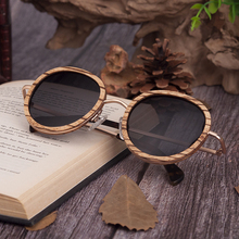 Oval Polarized Wood Sunglasses in Wooden Gift Box