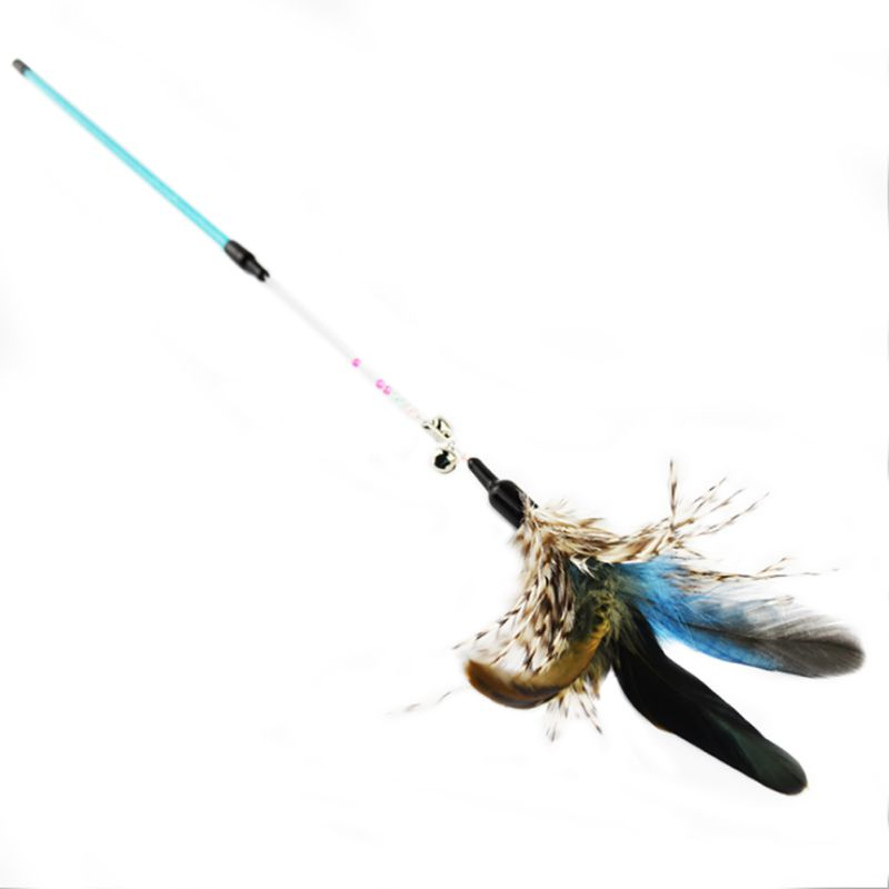 Pet Cat Toy Rod Cat Stick Elastic Wire Colorful Feather Teaser Toy for Cats Kitten with Bells Teasing6613
