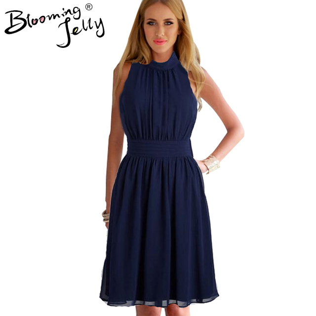 Blooming Jelly Turtle Neck Dress Ruched Navy Blue Party Knee Length Dress Chiffon Casual 2016 Elegant Navy Blue Dress Summer