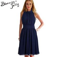 Blooming Jelly Vestido Cuello Acanalado Del Partido Azul Marino Longitud de La Rodilla Vestido Ocasional de La Gasa de 2016 Elegante Azul Marino Vestido de Verano