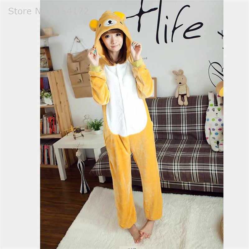 Кигуруми Релакс медведь комбинезоны пижамы с животными из мультфильмов Косплей пижамы Взрослый Костюм-комбинезон вечернее платье на Хэллоуин пижамы