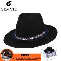 Trendy Jazz Cap 100% Wool Fedoras Felt Hat for Men Women Tassels Band Decor Classical Wool Felt Wide Brim Jazz Top Hat With Box