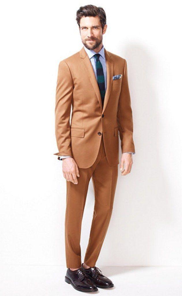0f335a75ee9 Notch Lapel Two Buttons khaki Men Suits Custome Homme Fashion Tuxedos Slim  Fit Blazer New Style (Jacket+Pant+Tie+Handkerchiefs)