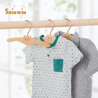 Sainwin 3pcs/lot 27cm Solid child wooden hanger household slip resistant seamless baby clothes hanging wool hangers for clohtes