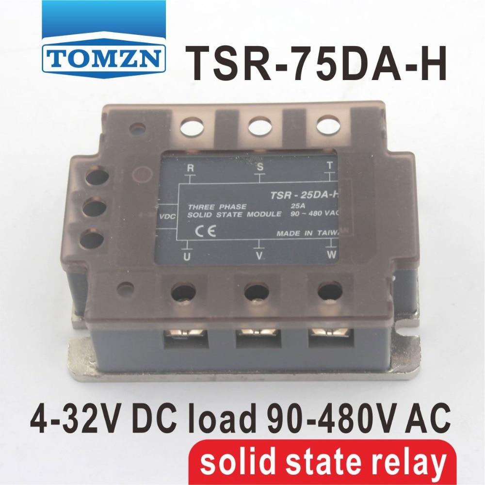 75DA TSR-75DA-H triphasé haute tension type SSR entrée 4-32 V DC charge 90-480 V AC monophasé AC relais à semi-conducteurs