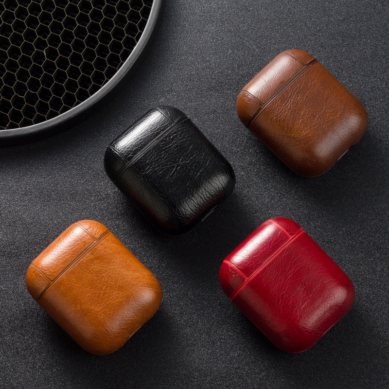 For Apple Airpods Strap Genuine PU Leather With Buttons Headphone Case Earphone Accessories For Iphone AirPods Protective Case