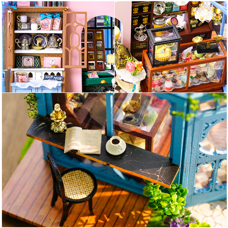 CUTEBEE DIY Dollhouse Wooden doll Houses Miniature Doll House Furniture Kit Casa Music Led Toys for Children Birthday Gift A68D in Doll Houses from Toys Hobbies