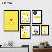 TAAWAA Elephant Bird Fish Wall Art Canvas Painting Cartoon Animals Posters and Prints Decorative Picture for Kid Room Decor