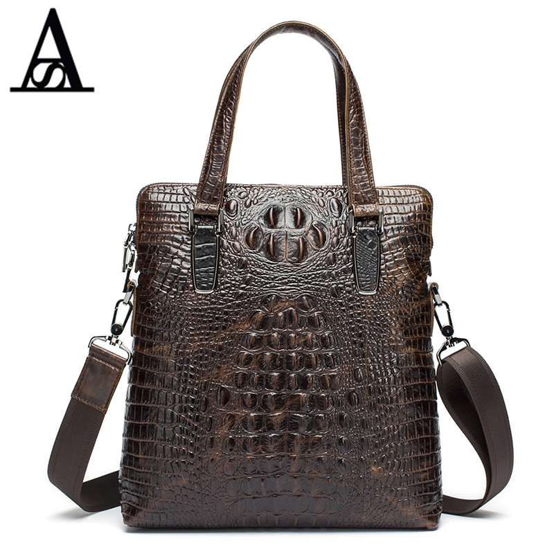 ФОТО AITESEN 2017 Alligator 100% Genuine Leather men bag Men's Briefcase Laptop Super business bags Travel Bag Vintage Shouder Bag