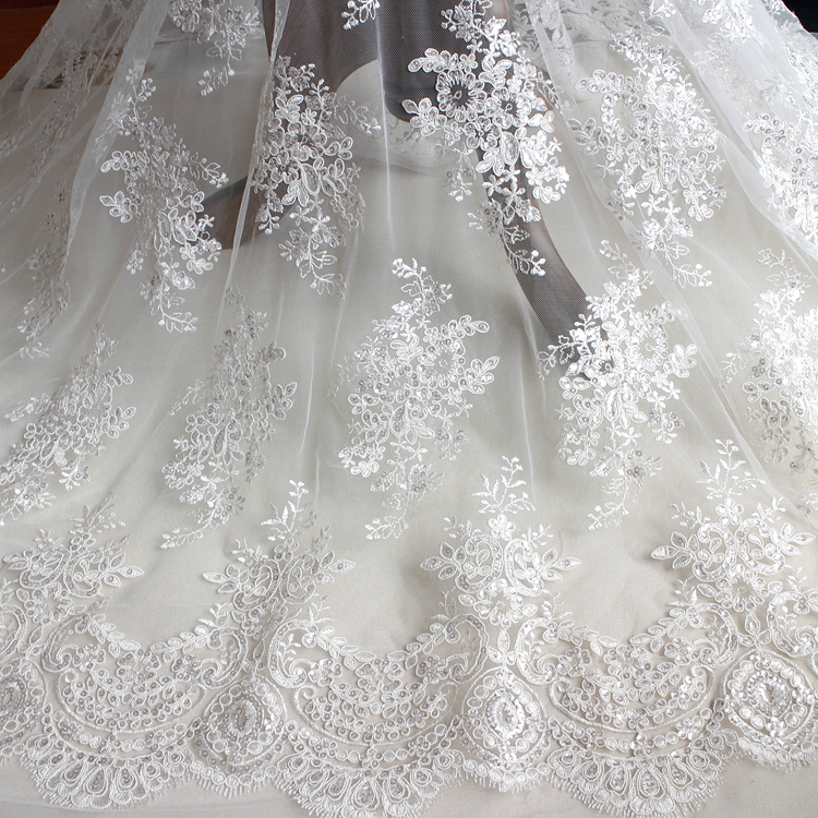 Floral Bridal Dress Lace Fabric Corded Embroidery Wedding Gown DIY Tulle Trim 1Y