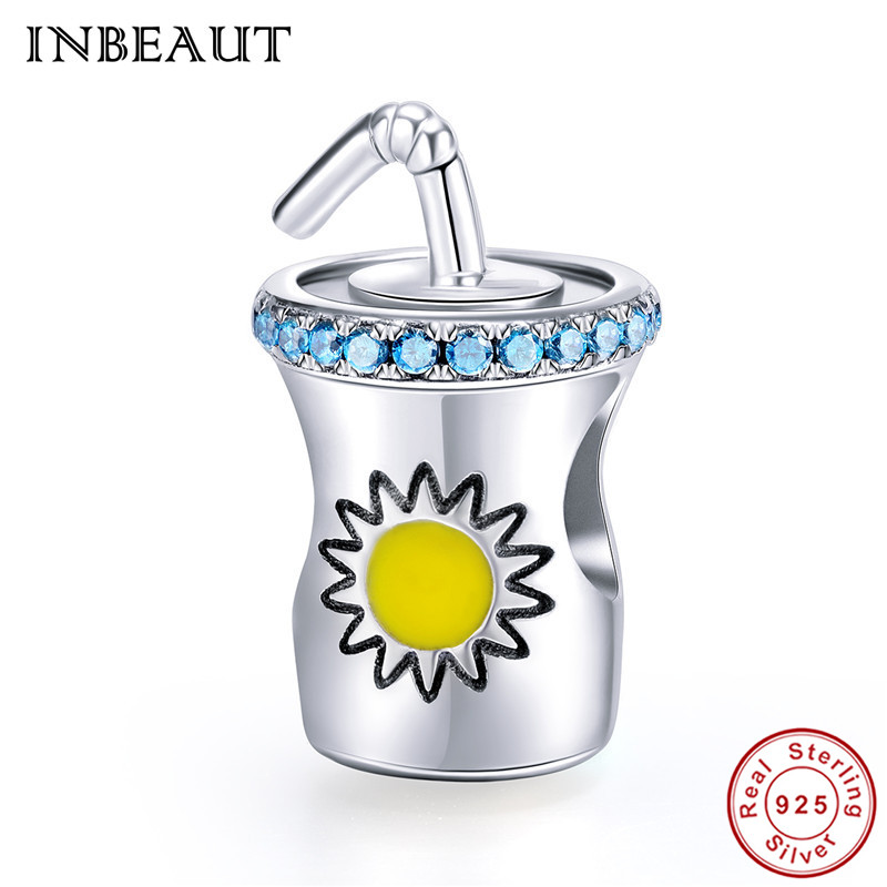 INBEAUT New Style Necklace Pendant 925 Sterling Summer Cold Drink Bottle Straw Beads Charm fit Pandora Bracelet for Teen Girls