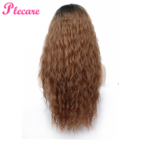 Plecare 28Inch Blond Pruiken Kinky Curly Synthetic Lace Front Wig for Black Women High Temeperature Fiber Hair Pink Wigs
