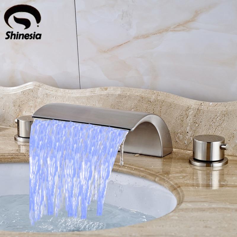 Nickel Brushed LED Waterfall Bathroom Sink Faucet Double Handles Mixer Tap Countertop Bathtub Faucet nickel brushed led waterfall bathroom sink faucet double handles mixer tap widespread 3pcs basin mixer tap