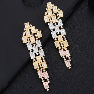 Image 4 - GODKI 73mm Luxury 3 Tone Geometry Long Dangle Earrings For Women Wedding Fu Cubic Zircon Crystal CZ Dubai Indian Bridal Earrings