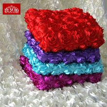 Three-dimensional rose fabric 3D flowers white festival wedding carpet cloth hollowed-out dress 140wide