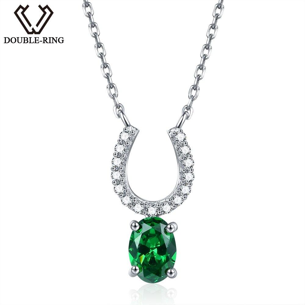 DOUBLE-R 0.75ct Créé Émeraude Colliers et Pendentifs 100% 925 Sterling Argent 45 cm Chaîne Fine Jewelry Colliers Pour Femmes