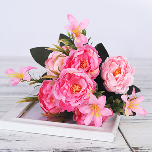 Image 5 - artificial peonies flowers silk bouquet for wedding decoration cheap small fake flowers home decor DIY high quality chinese made