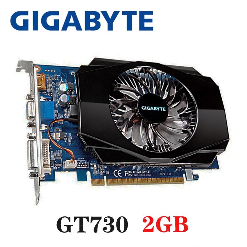 GIGABYTE Video Card Original GT730 2GB 2G 128Bit GDDR3 Graphics Cards for nVIDIA VGA Cards Geforce