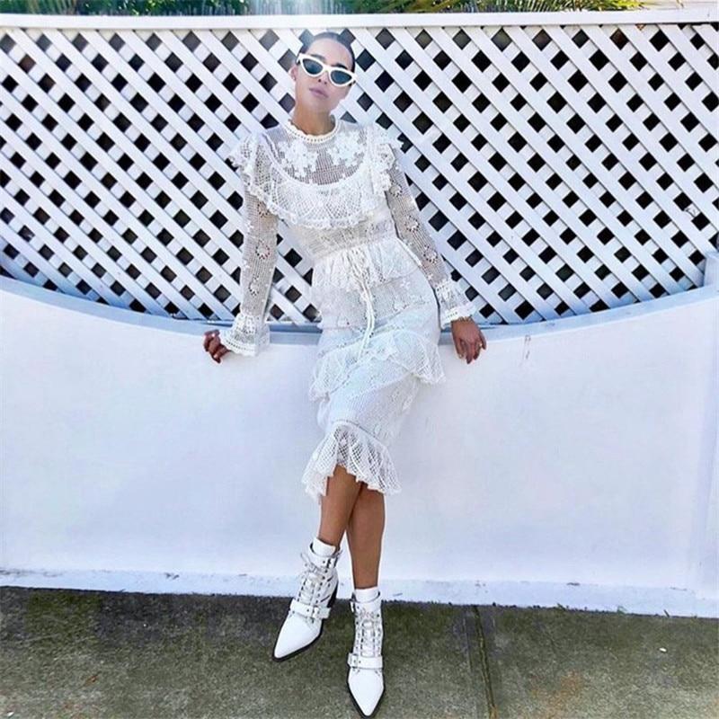 2019 neue Kommen Weiß Lang Hülse Spitze Kleid