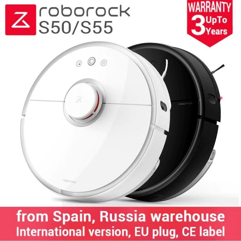 2018 Date Roborock S50 Noir S55 Robot Aspirateur 2 Maison Automatique Balayer La Poussière Stériliser Smart Prévues À Laver Essuyant