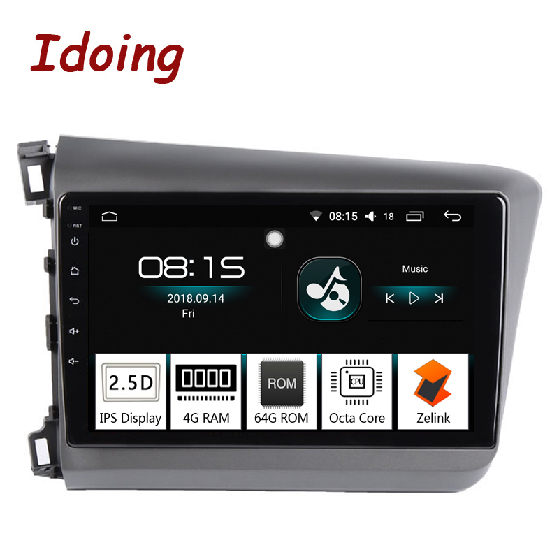 Idoing 94G+64G Octa Core 1 Din Car Android 8.0 Radio Multimedia Player For Honda Civic 2010-2012 GPS Navigation and Glonass image