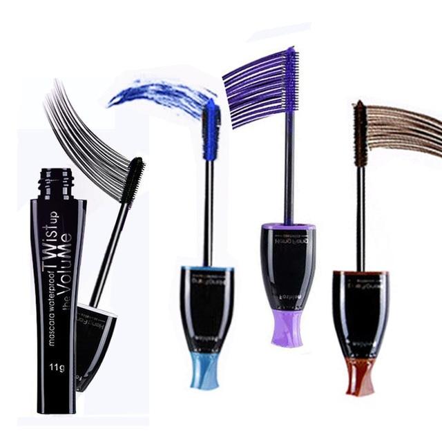 4 colores elegir encanto maquillaje impermeable de largo volumen rimel resistente al agua púrpura azul marrón negro máscara cosmética
